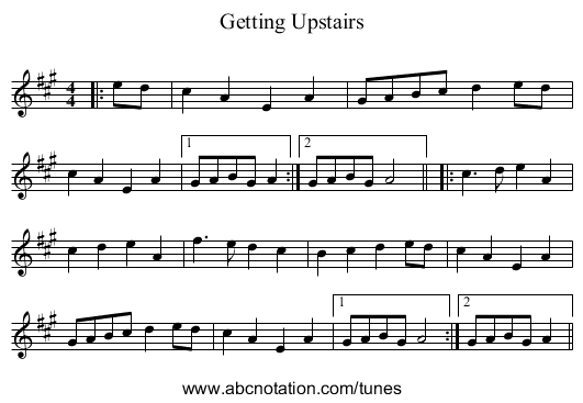 Getting Upstairs - staff notation