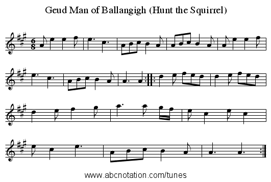 Geud Man of Ballangigh (Hunt the Squirrel) - staff notation