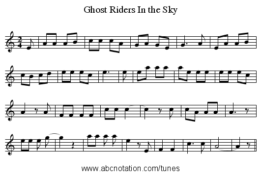 Ghost Riders In the Sky - staff notation