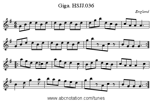 Giga. HSJJ.036 - staff notation