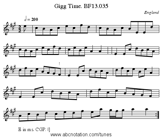 Gigg Time. BF13.035 - staff notation