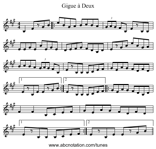 Gigue à Deux - staff notation