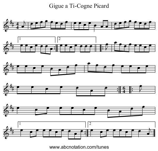 Gigue a Ti-Cogne Picard - staff notation