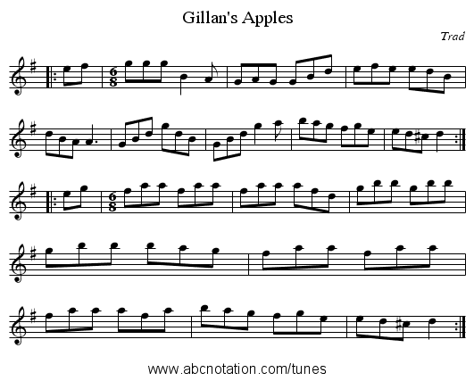 Gillan's Apples - staff notation