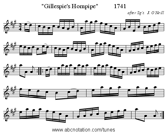 Gillespie's Hornpipe          1741 - staff notation