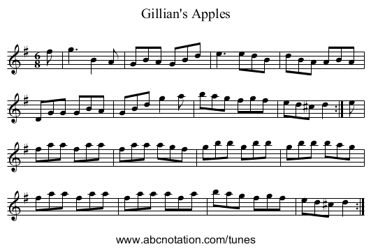 Gillian's Apples - staff notation
