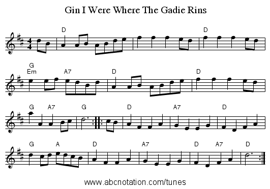 Gin I Were Where The Gadie Rins - staff notation