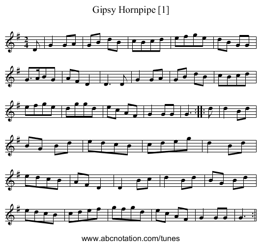 Gipsy Hornpipe [1] - staff notation