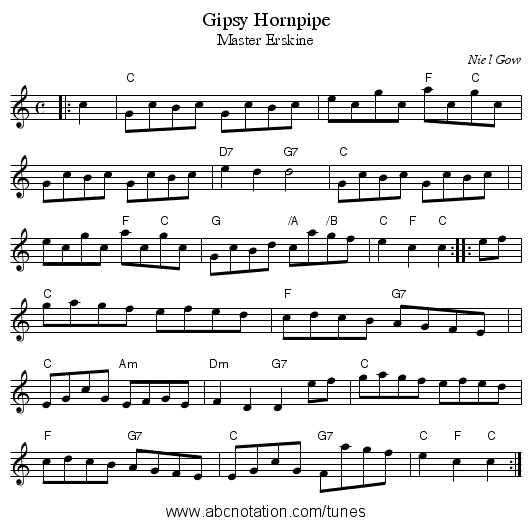 Gipsy Hornpipe - staff notation