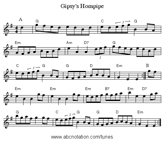 Gipsy's Hornpipe - staff notation