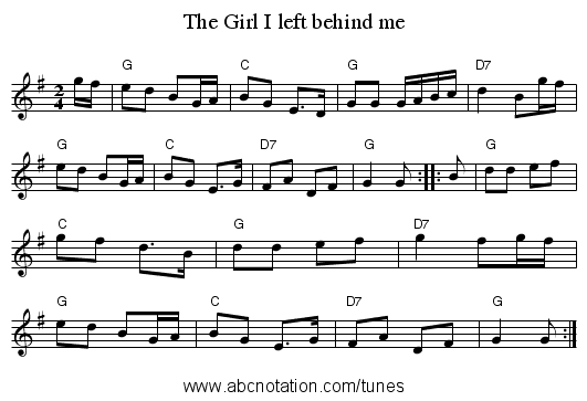 Girl I left behind me, The - staff notation
