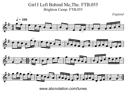 Girl I Left Behind Me,The. FTB.055 - staff notation