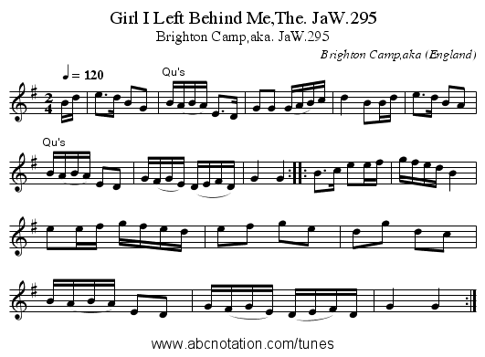 Girl I Left Behind Me,The. JaW.295 - staff notation