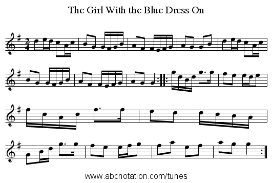 Girl With the Blue Dress On, The - staff notation