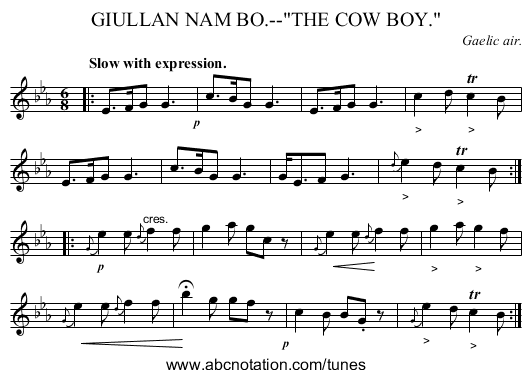 GIULLAN NAM BO.--THE COW BOY. - staff notation