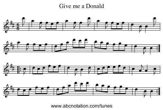 Give me a Donald - staff notation