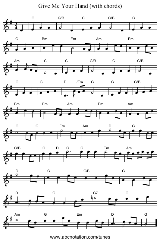 Give Me Your Hand (with chords) - staff notation