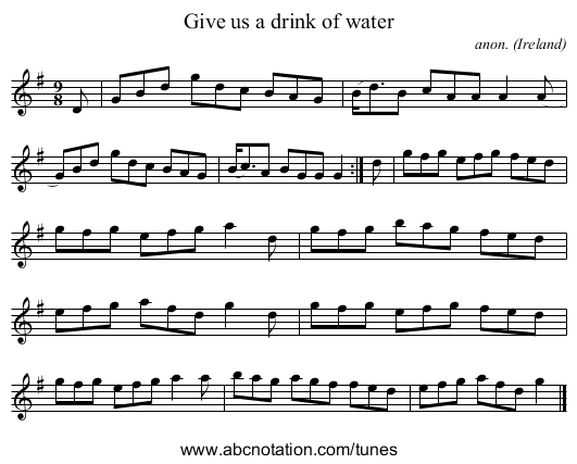 Give us a drink of water - staff notation