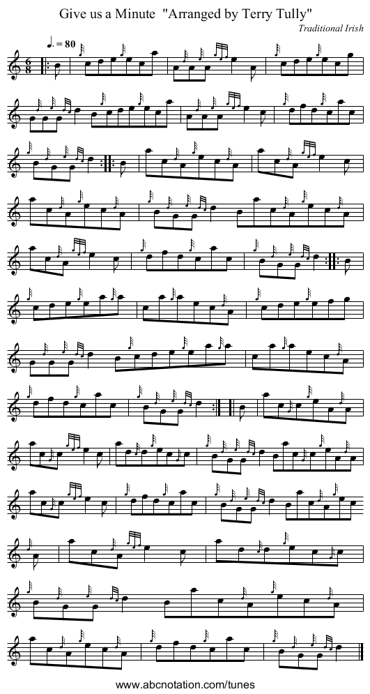 Give us a Minute  Arranged by Terry Tully - staff notation