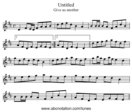 Give Us Another - staff notation