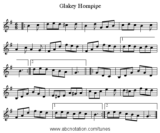 Glakey Hornpipe - staff notation