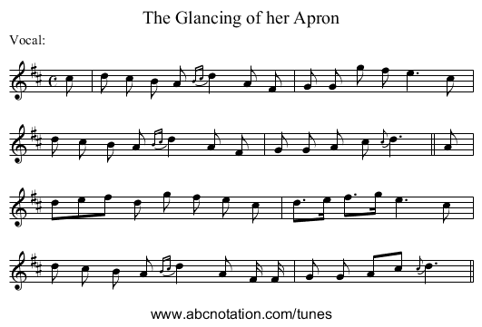Glancing of her Apron, The - staff notation