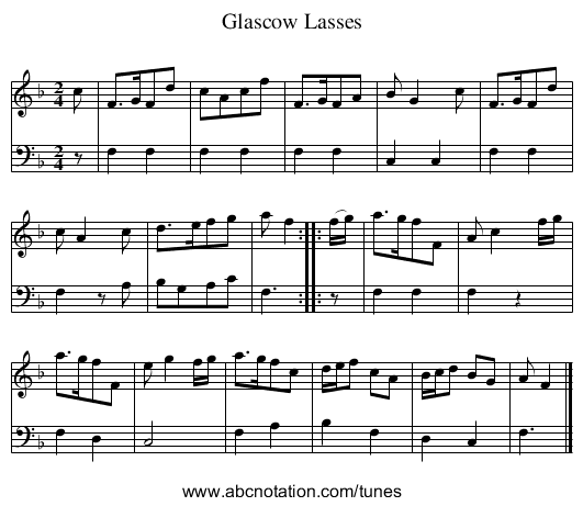 Glascow Lasses - staff notation