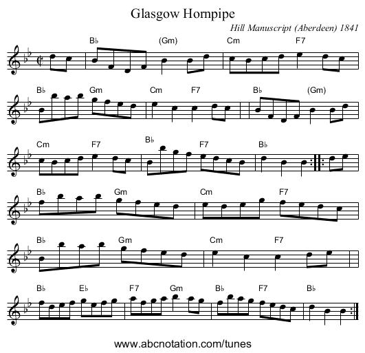 Glasgow Hornpipe - staff notation
