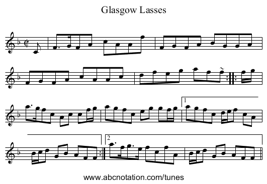 Glasgow Lasses - staff notation