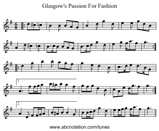 Glasgow's Passion For Fashion - staff notation