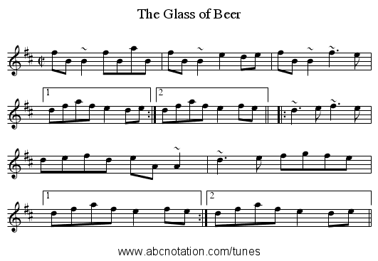 Glass of Beer, The - staff notation