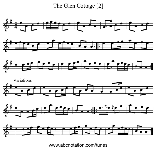 Glen Cottage [2], The - staff notation