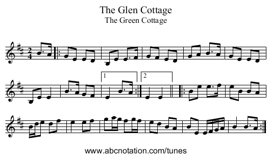 Glen Cottage, The - staff notation