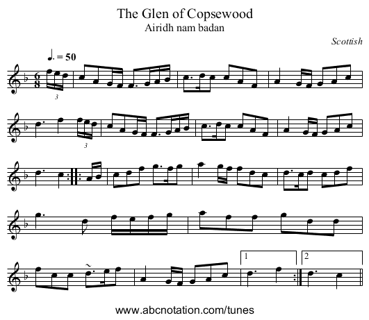 Glen of Copsewood, The - staff notation