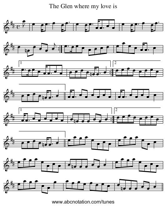 Glen where my love is, The - staff notation