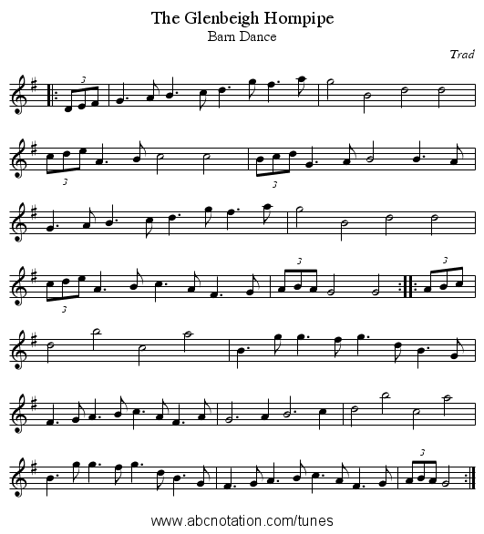 Glenbeigh Hornpipe, The - staff notation