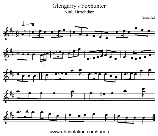 Glengarry's Foxhunter - staff notation