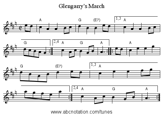 Glengarry's March - staff notation