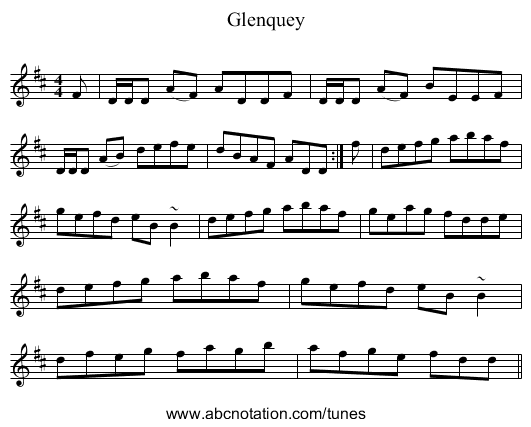 Glenquey - staff notation
