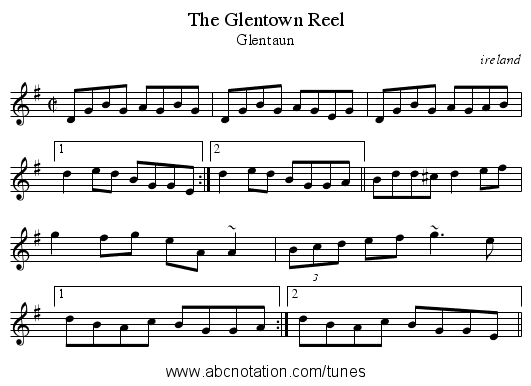 Glentown Reel, The - staff notation