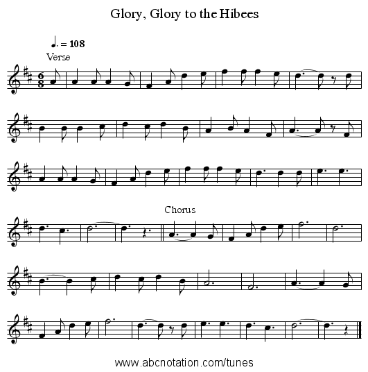 Glory, Glory to the Hibees - staff notation
