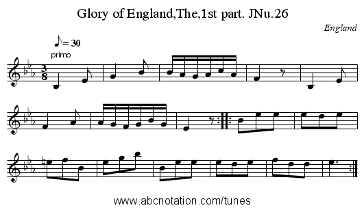 Glory of England,The,1st part. JNu.26 - staff notation