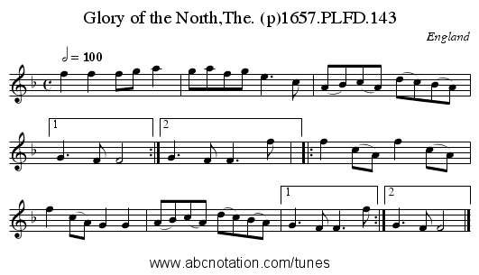 Glory of the North,The. (p)1657.PLFD.143 - staff notation