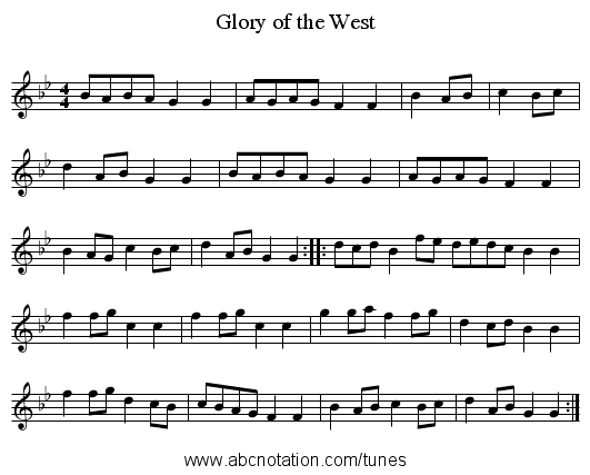 Glory of the West - staff notation