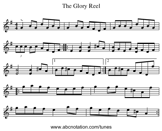 Glory Reel, The - staff notation