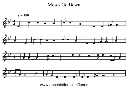 Go Down, Moses - staff notation