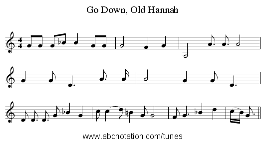 Go Down, Old Hannah - staff notation