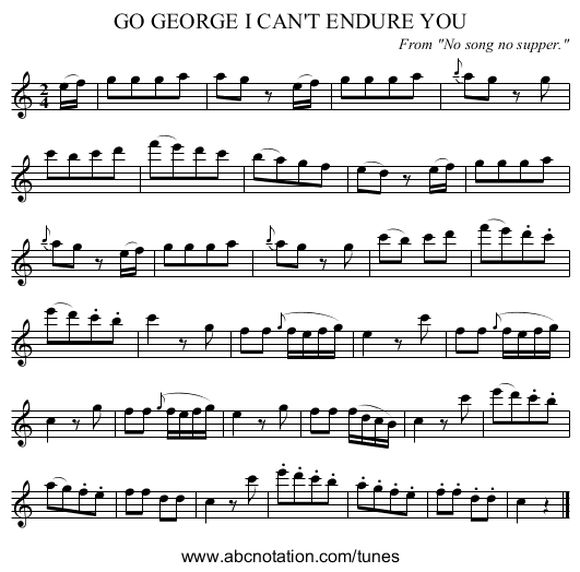 GO GEORGE I CAN'T ENDURE YOU - staff notation