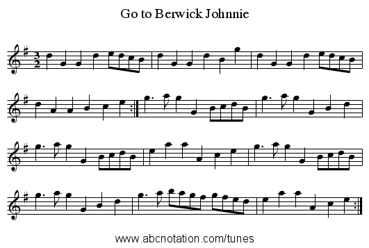 Go to Berwick Johnnie - staff notation