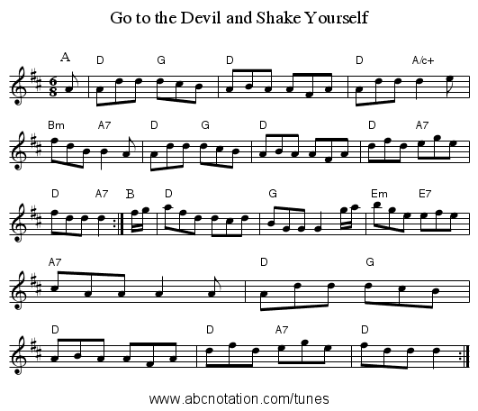 Go to the Devil and Shake Yourself - staff notation